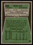 1975 Topps #189  Bob Lee  Back Thumbnail