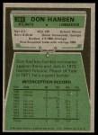 1975 Topps #384  Don Hansen  Back Thumbnail