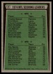 1975 Topps #4   -  Chester Marcol / Roy Gerela Scoring Leaders Back Thumbnail