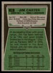 1975 Topps #19  Jim Carter  Back Thumbnail
