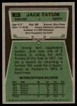 1975 Topps #70  Jack Tatum  Back Thumbnail