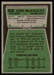 1975 Topps #88  Don McCauley  Back Thumbnail