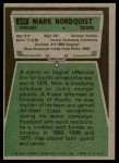 1975 Topps #337  Mark Nordquist  Back Thumbnail