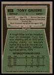 1975 Topps #54  Tony Greene  Back Thumbnail