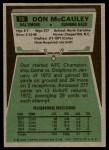 1975 Topps #88  Don McCauley  Back Thumbnail