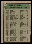 1979 Topps #244   -  Chuck Tanner Pirates Team Checklist Back Thumbnail