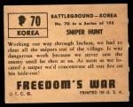 1950 Topps Freedoms War #70   Sniper Hunt Back Thumbnail