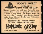 1950 Topps Hopalong Cassidy #156   Hoppy finds his man Back Thumbnail