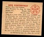 1950 Bowman #216  Bob Porterfield  Back Thumbnail