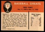 1961 Fleer #80  Fred Toney  Back Thumbnail