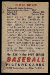 1951 Bowman #228  Cloyd Boyer  Back Thumbnail