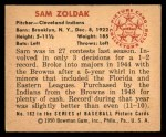 1950 Bowman #182  Sam Zoldak  Back Thumbnail
