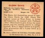 1950 Bowman #16  Glenn Davis  Back Thumbnail