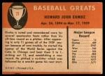 1961 Fleer #21  Howard Ehmke  Back Thumbnail