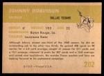 1961 Fleer #202  Johnny Robinson  Back Thumbnail