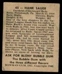 1948 Bowman #45  Hank Sauer  Back Thumbnail