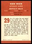 1963 Fleer #29  Ken Rice  Back Thumbnail