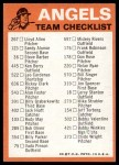 1973 Topps Blue Checklist   Angels Back Thumbnail