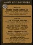 1973 Topps #421 ORG  -  Bobby Winkles / Tom Morgan / Salty Parker / Jimmie Reese / John Roseboro Angels Leaders Back Thumbnail