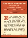 1963 Fleer #38  Charlie Hennigan  Back Thumbnail