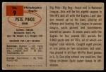 1954 Bowman #9  Pete Pihos  Back Thumbnail
