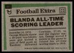 1975 Topps #351   -  George Blanda Record Breaker Back Thumbnail