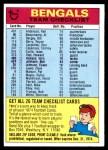 1974 Topps  Checklist   Cincinnati Bengals Team Front Thumbnail