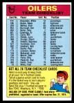1974 Topps  Checklist   Houston Oilers Team Front Thumbnail