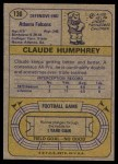 1974 Topps #136   -  Claude Humphrey All-Pro Back Thumbnail