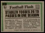 1975 Topps #458   -  Ken Stabler  Highlights Back Thumbnail