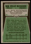 1975 Topps #286  Willie Buchanon  Back Thumbnail