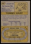 1974 Topps #404  Tommy Hart  Back Thumbnail