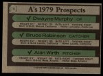 1979 Topps #711   -  Dwayne Murphy / Bruce Robinson / Alan Wirth A's Prospects Back Thumbnail