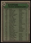 1979 Topps #606   -  Dick Williams  Expos Team Checklist Back Thumbnail