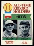 1979 Topps #411   -  George Sisler / Ty Cobb All-Time Record Holders - Hits Front Thumbnail
