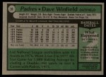 1979 Topps #30  Dave Winfield  Back Thumbnail