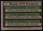 1979 Topps #707   -  Randy Bass / Jim Gaudet / Randy McGilberry Royals Prospects  Back Thumbnail