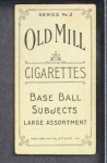 1910 T210-3 Old Mill Texas League  Bennett  Back Thumbnail