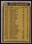 1979 Topps #226   Jets Leaders Checklist Back Thumbnail
