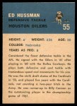 1962 Fleer #55  Ed Hussman  Back Thumbnail