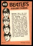 1964 Topps Beatles Color #40   John, Paul with Ringo on harmonica Back Thumbnail