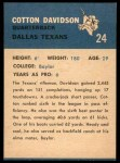 1962 Fleer #24  Cotton Davidson  Back Thumbnail