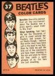 1964 Topps Beatles Color #37   John, Paul and George perfoming Back Thumbnail