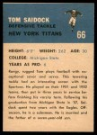 1962 Fleer #66  Tom Saidock  Back Thumbnail