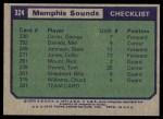 1975 Topps #324   Memphis Sounds Back Thumbnail