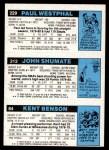 1980 Topps   -  Kent Benson / John Shumate / Paul Westphal 84 / 212 / 229 Back Thumbnail