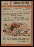 1962 Topps #164  Norm Snead  Back Thumbnail