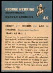 1962 Fleer #44  George Herring  Back Thumbnail