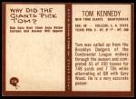 1967 Philadelphia #114  Tom Kennedy  Back Thumbnail