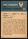 1962 Fleer #81  Dave Kocourek  Back Thumbnail